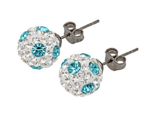 Tresor Paris 10mm Light Blue Poke A Dot Large BonBon Stud Earrings